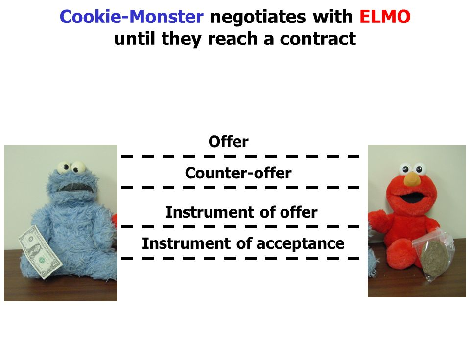 Cookie-Monster negotiates with ELMO until they reach a contract