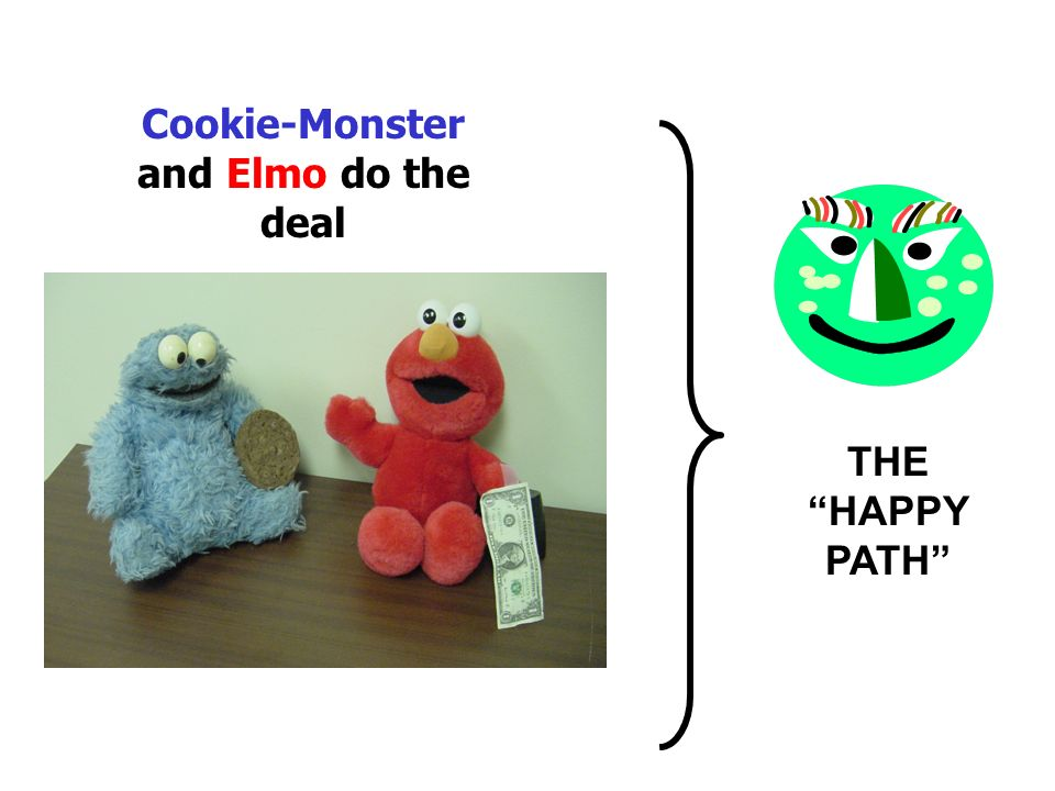 Cookie-Monster and Elmo do the deal
