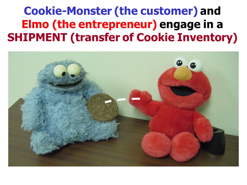 Cookie-Monster (the customer) and Elmo (the entrepreneur) engage in a SHIPMENT (transfer of Cookie Inventory)