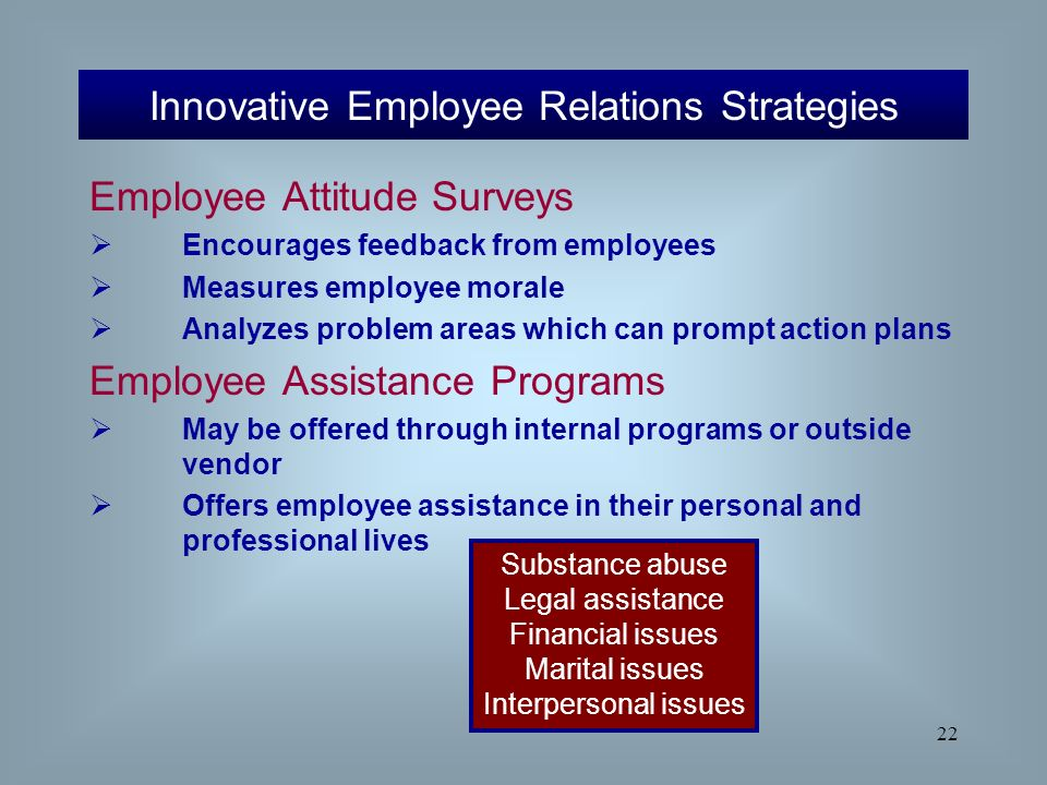 employee relations strategies And consistency with the overall employee relations strategy based on proactive open communications mission: facilitate the achievement of university/campus/location and operating objectives while providing support, information, and services to leadership and management.