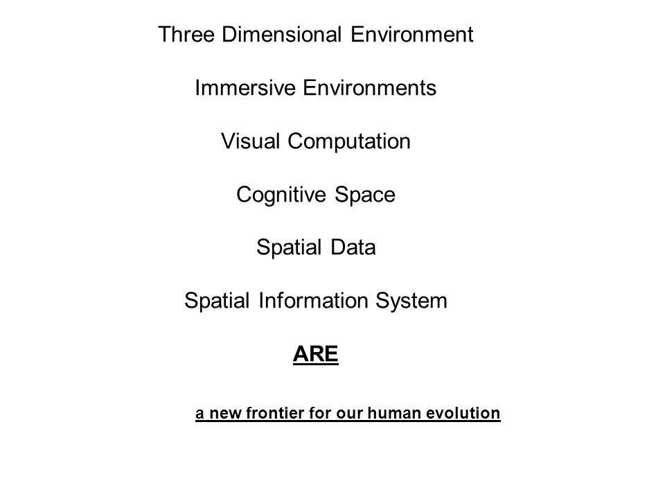 Three Dimensional Environment Immersive Environments Visual Computation Cognitive Space Spatial Data Spatial Information System ARE
