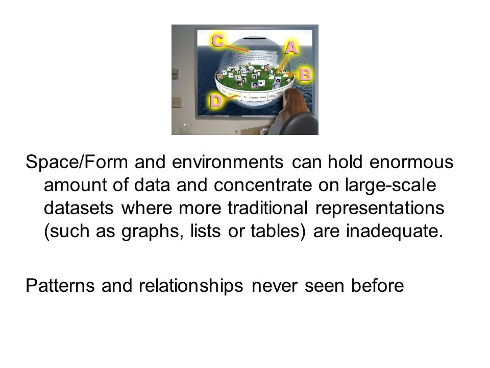 Space/Form and environments can hold enormous amount of data and concentrate on large-scale datasets where more traditional representations (such as graphs, lists or tables) are inadequate.