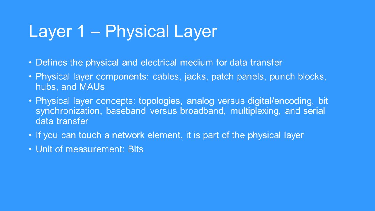 physical network layer concepts Read this essay on unit 4 assignment 1 physical layer network concepts come browse our large digital warehouse of free sample essays get the knowledge you need in.