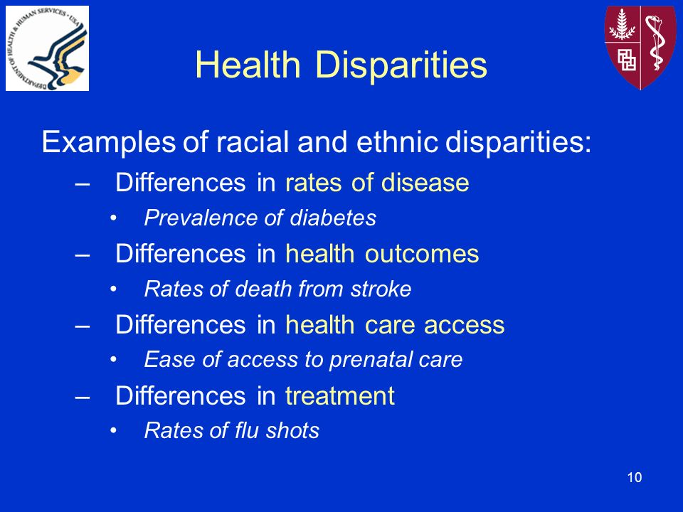 disparities in health care access in Health disparities are differences and/or gaps in the quality of health and healthcare across racial, ethnic, and socio-economic groups it can also be understood as population-specific differences in the presence of disease, health outcomes, or access to healthcare.