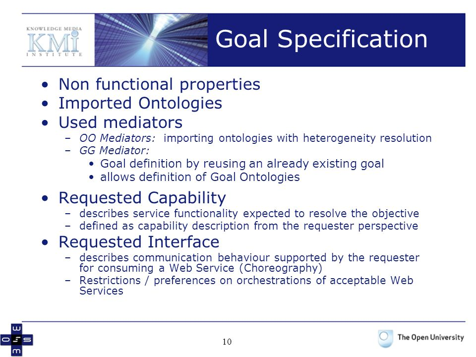 Goal Specification Non functional properties Imported Ontologies
