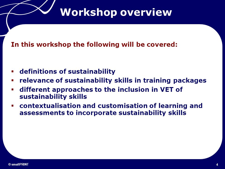 Workshop overview In this workshop the following will be covered: