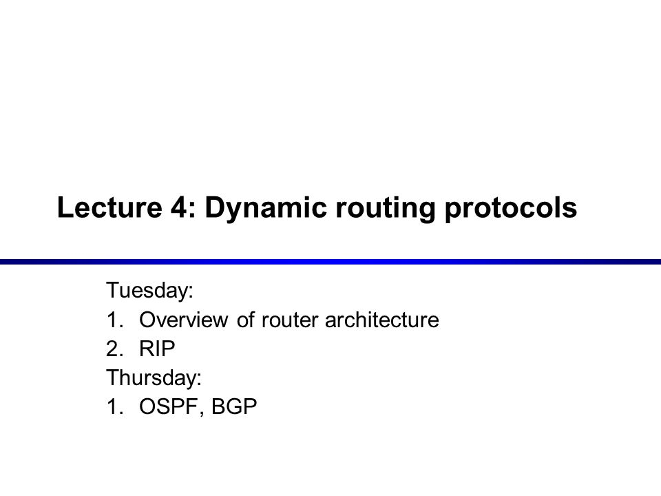 Lecture 4: Dynamic routing protocols - ppt video online download