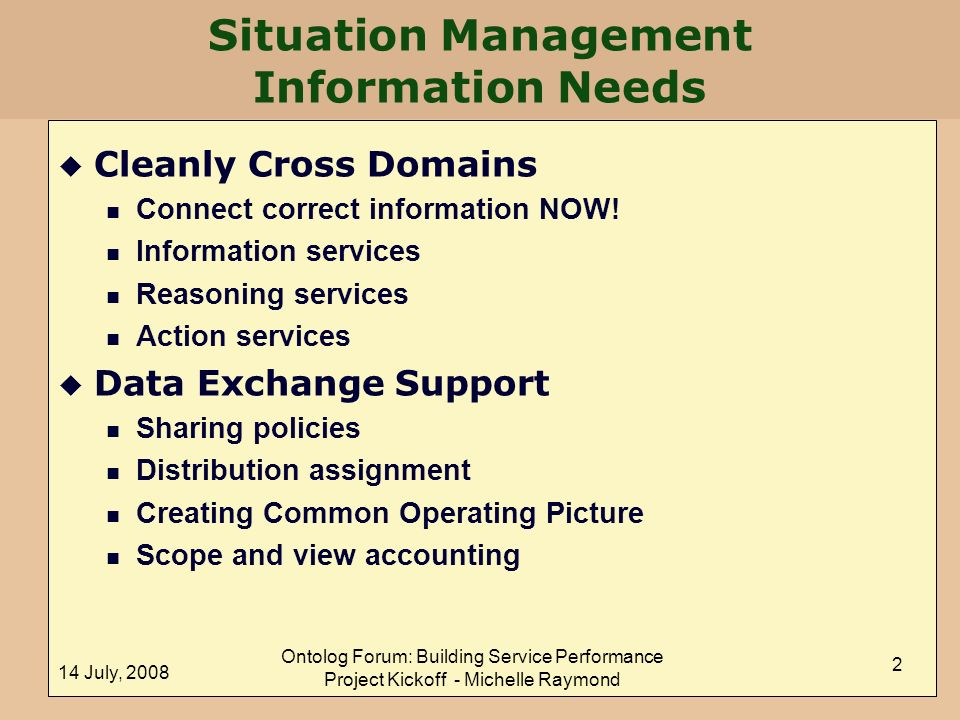 Situation Management Information Needs