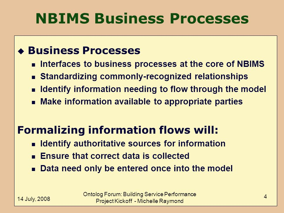 NBIMS Business Processes