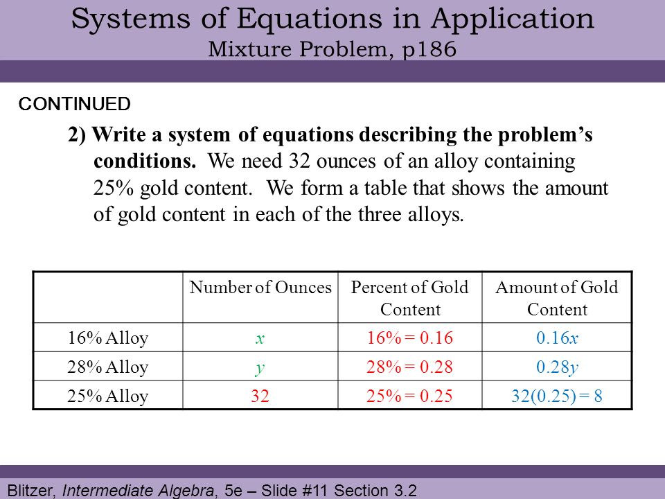 how to solve mixture problems using system of equations