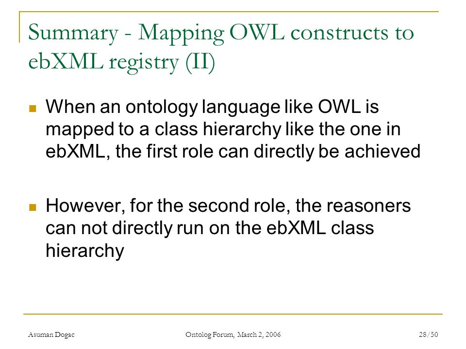 Summary - Mapping OWL constructs to ebXML registry (II)