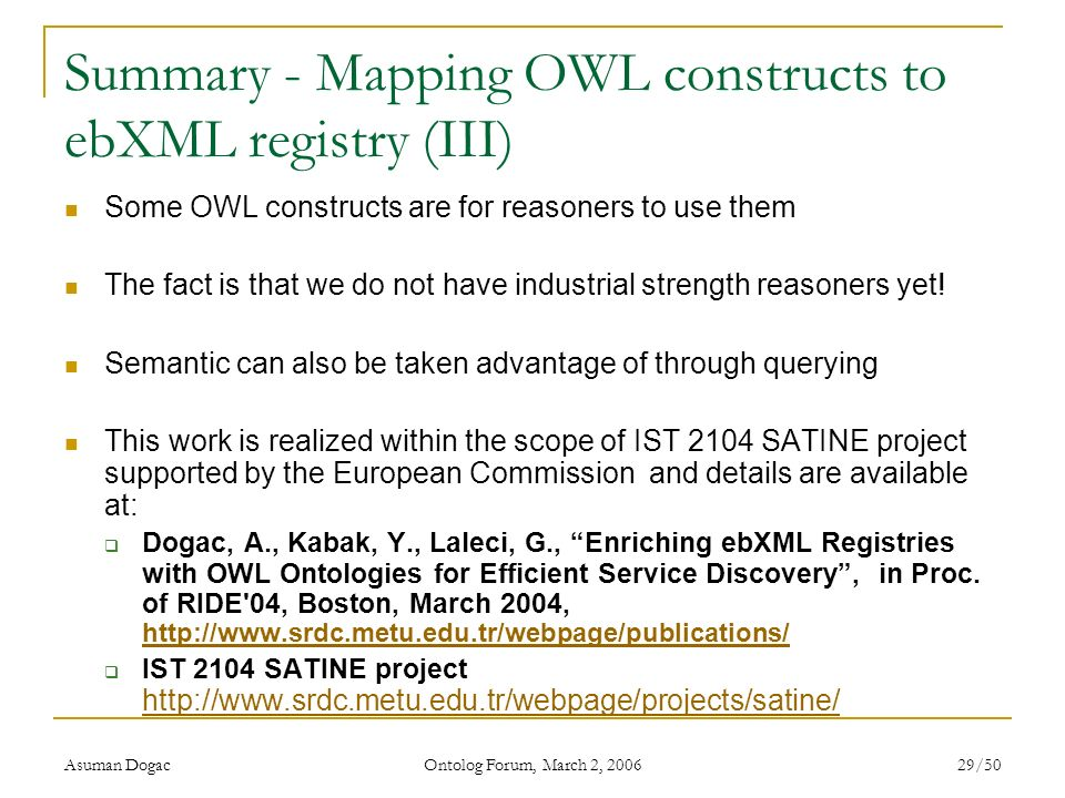 Summary - Mapping OWL constructs to ebXML registry (III)