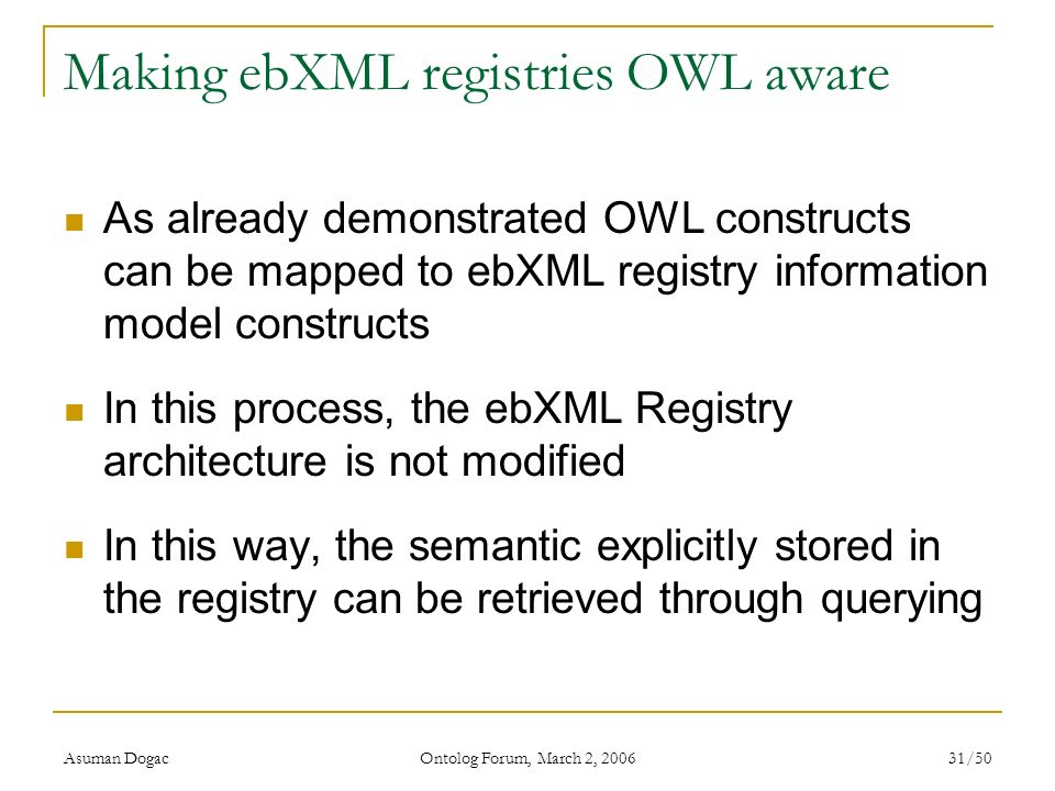 Making ebXML registries OWL aware