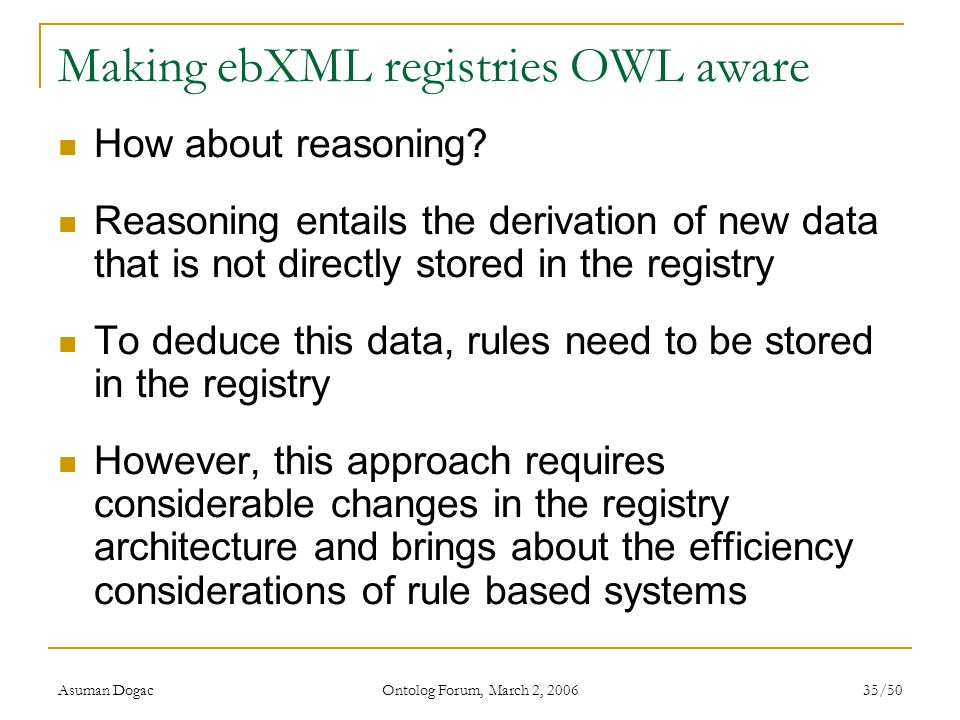 Making ebXML registries OWL aware