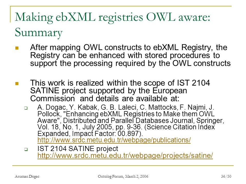 Making ebXML registries OWL aware: Summary