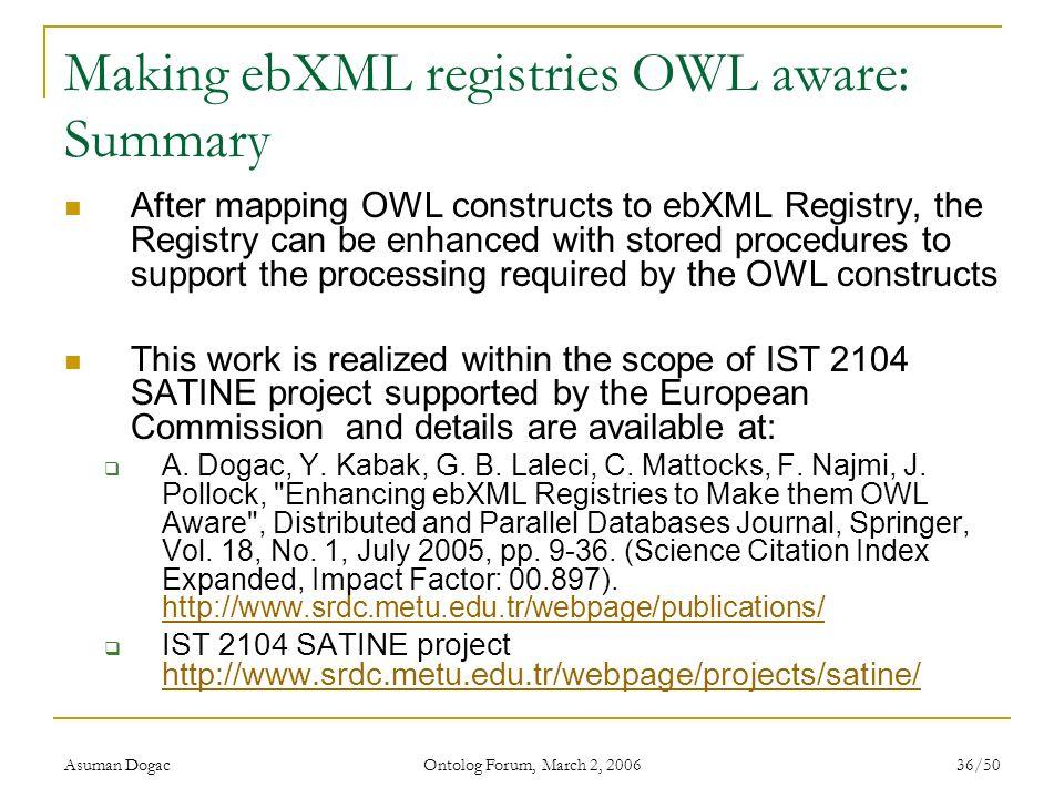 Making ebXML registries OWL aware: Summary