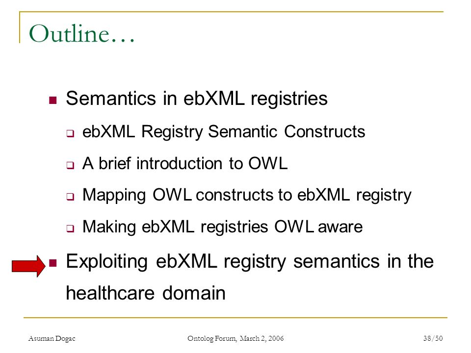 Outline… Semantics in ebXML registries