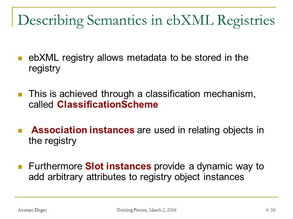 Describing Semantics in ebXML Registries