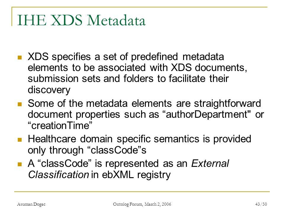 IHE XDS Metadata