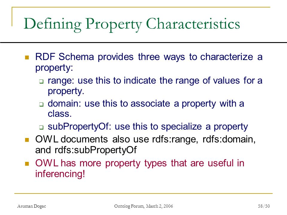 Defining Property Characteristics