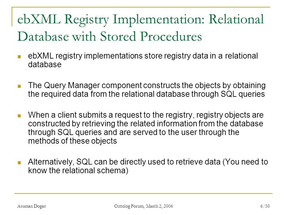 ebXML Registry Implementation: Relational Database with Stored Procedures