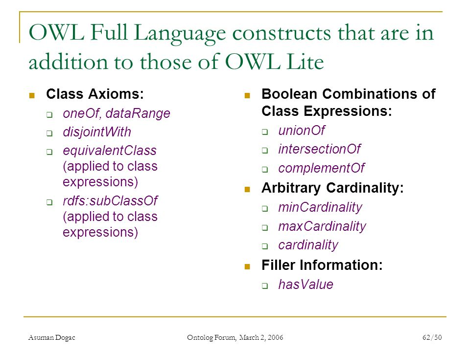 OWL Full Language constructs that are in addition to those of OWL Lite