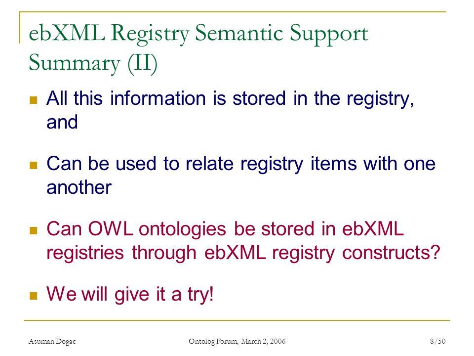 ebXML Registry Semantic Support Summary (II)