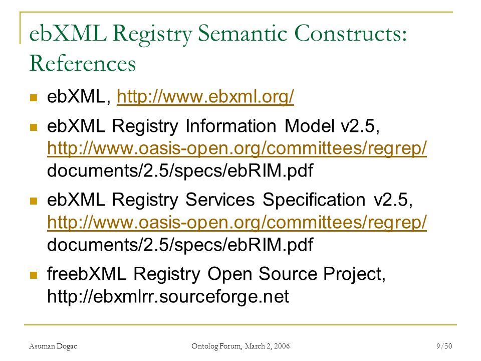 ebXML Registry Semantic Constructs: References