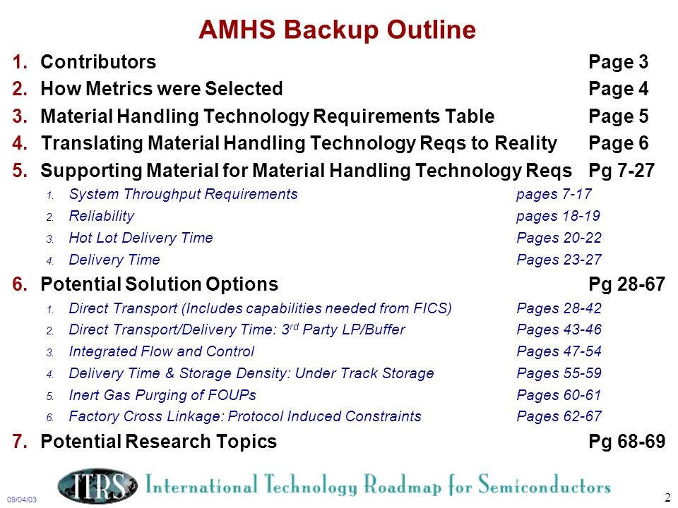 AMHS Backup Outline Contributors Page 3