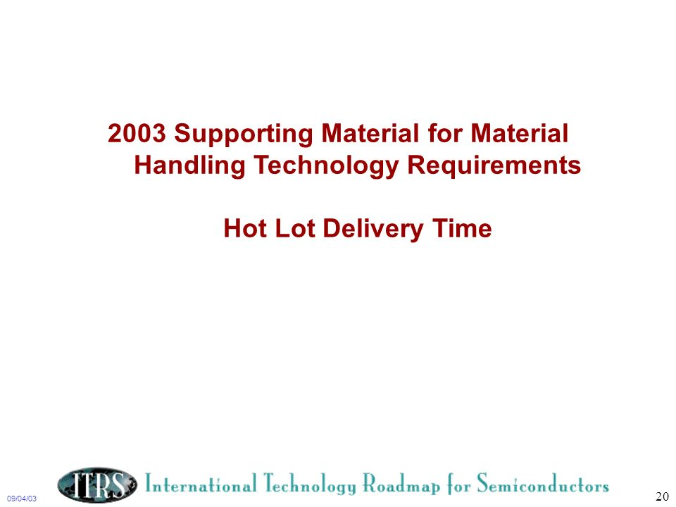 2003 Supporting Material for Material Handling Technology Requirements Hot Lot Delivery Time