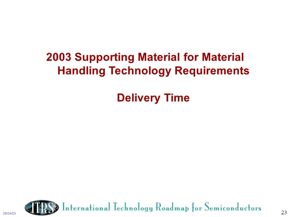 2003 Supporting Material for Material Handling Technology Requirements Delivery Time
