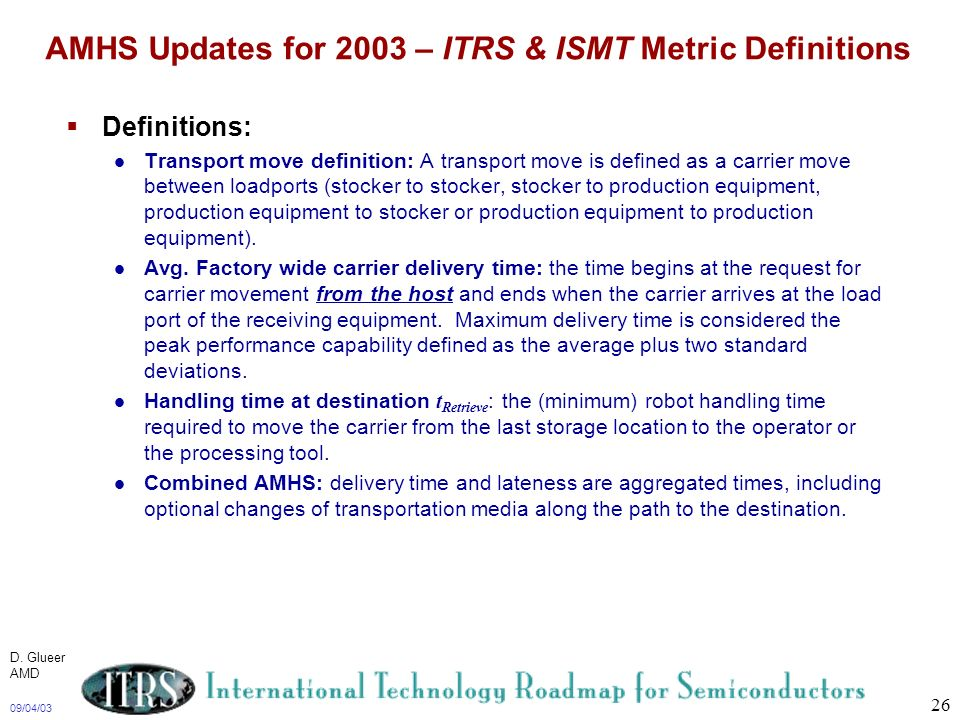 AMHS Updates for 2003 – ITRS & ISMT Metric Definitions