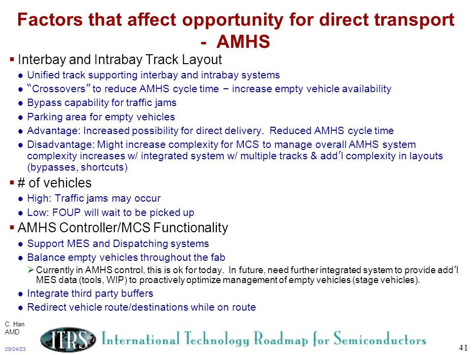 Factors that affect opportunity for direct transport - AMHS