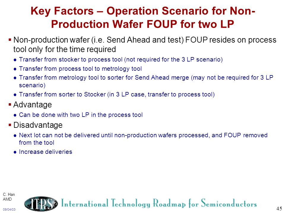 Key Factors – Operation Scenario for Non-Production Wafer FOUP for two LP