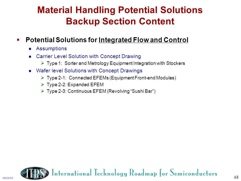 Material Handling Potential Solutions Backup Section Content