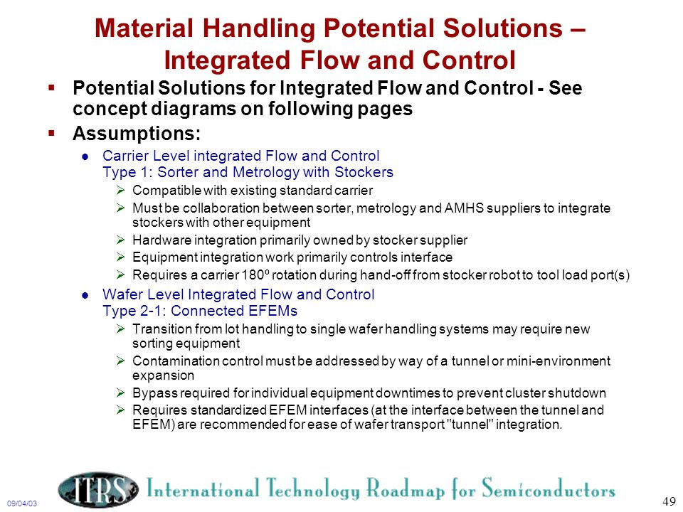 Material Handling Potential Solutions – Integrated Flow and Control