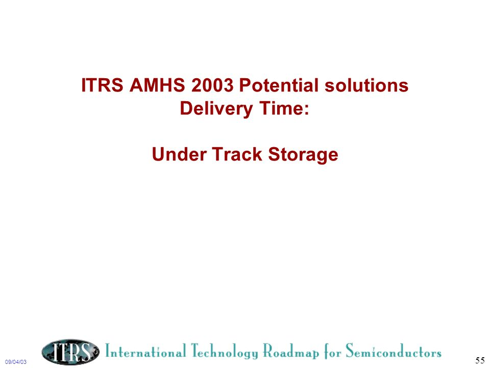 ITRS AMHS 2003 Potential solutions Delivery Time: Under Track Storage