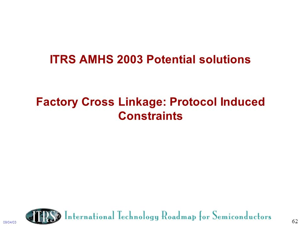 ITRS AMHS 2003 Potential solutions Factory Cross Linkage: Protocol Induced Constraints