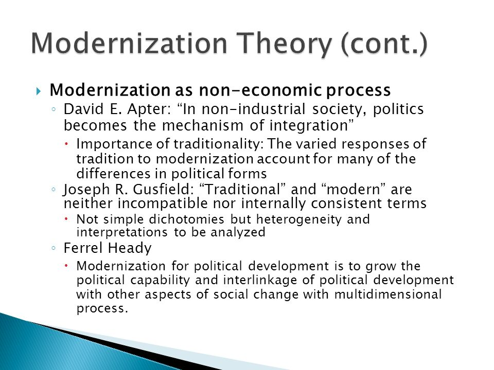 modernization theory and classical dependency theory essay Modernization, development, and their criticisms central and eastern europe in the 19th and 20th centuries a 2-hour and 2-credit course on tuesdays at 900 pm .