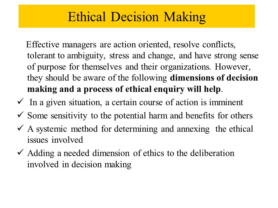 Moral Principles in Decision Making essay