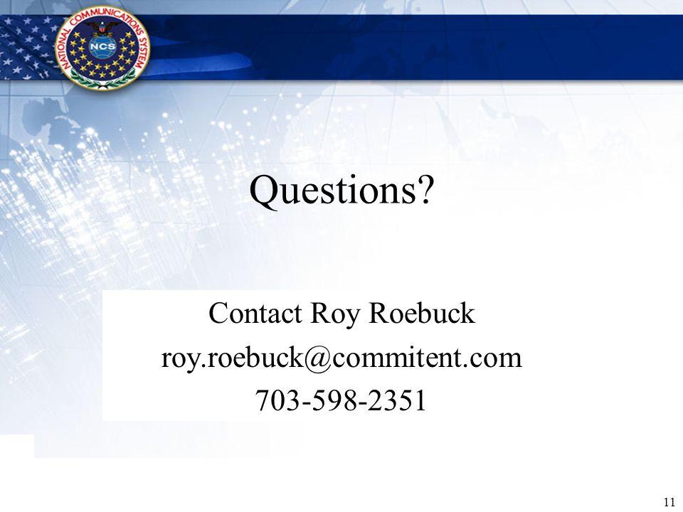 Contact Roy Roebuck roy.roebuck@commitent.com 703-598-2351