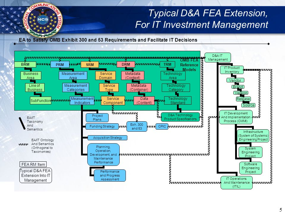 Typical D&A FEA Extension, For IT Investment Management