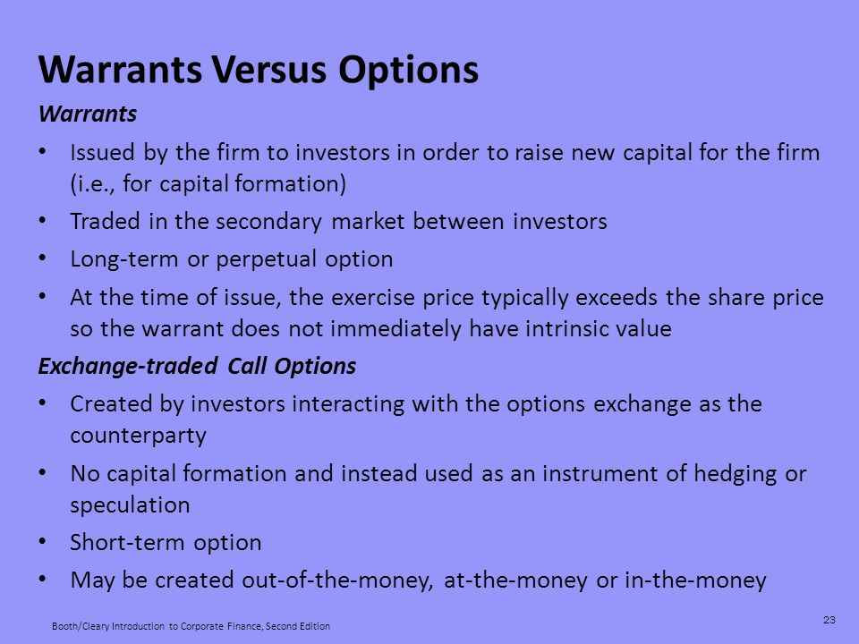 Investment analysis derivatives options and warrants essay