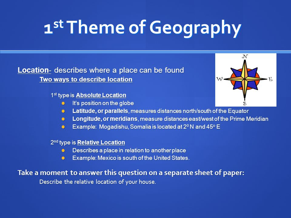 Five themes of geography ppt download 1st theme of geography location describes where a place can be found sciox Choice Image
