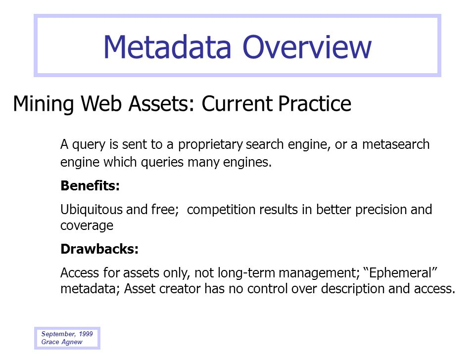 Metadata Overview Mining Web Assets: Current Practice
