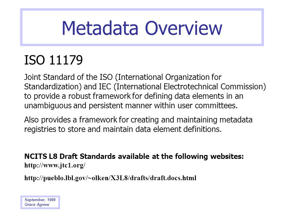 Metadata Overview ISO 11179.