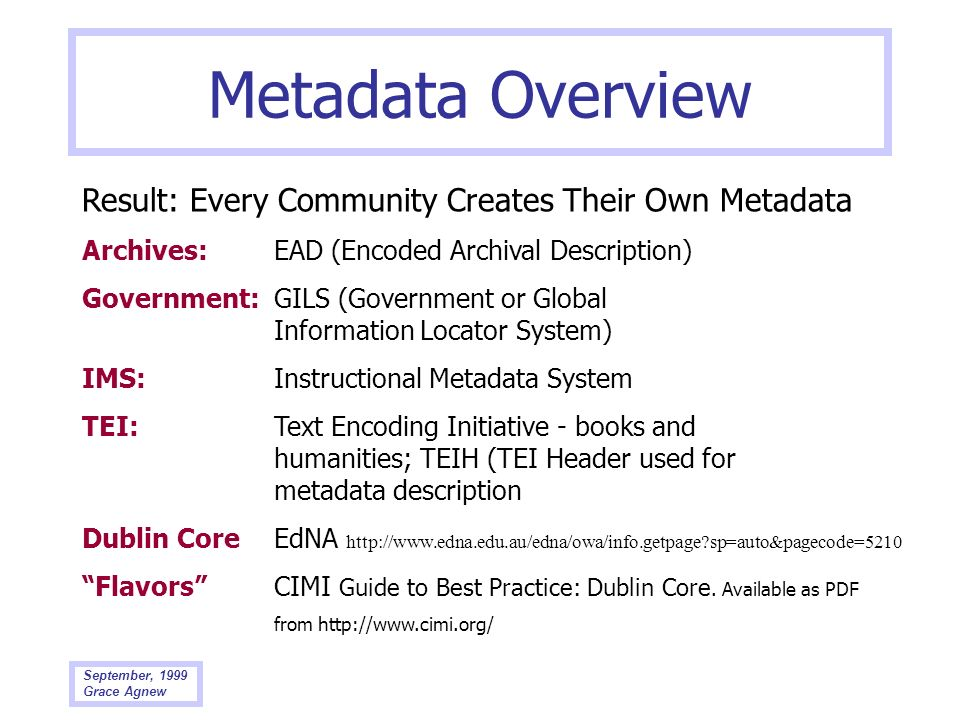 Metadata Overview Result: Every Community Creates Their Own Metadata