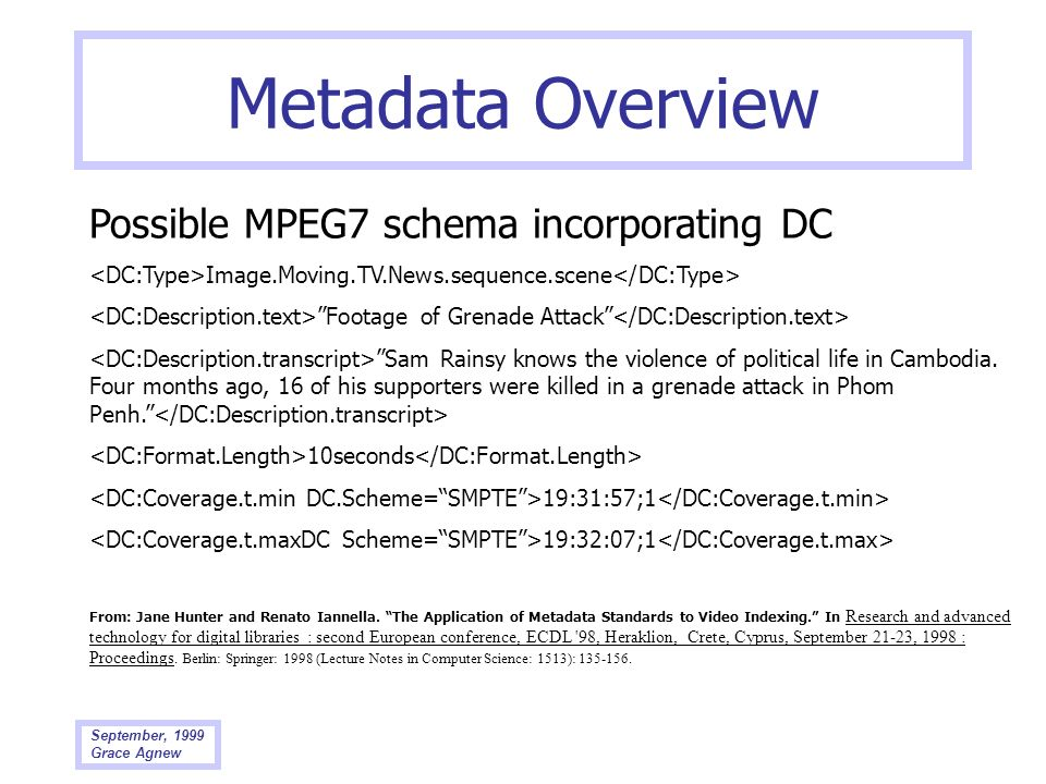 Metadata Overview Possible MPEG7 schema incorporating DC