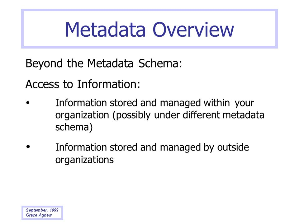 Metadata Overview Beyond the Metadata Schema: Access to Information: