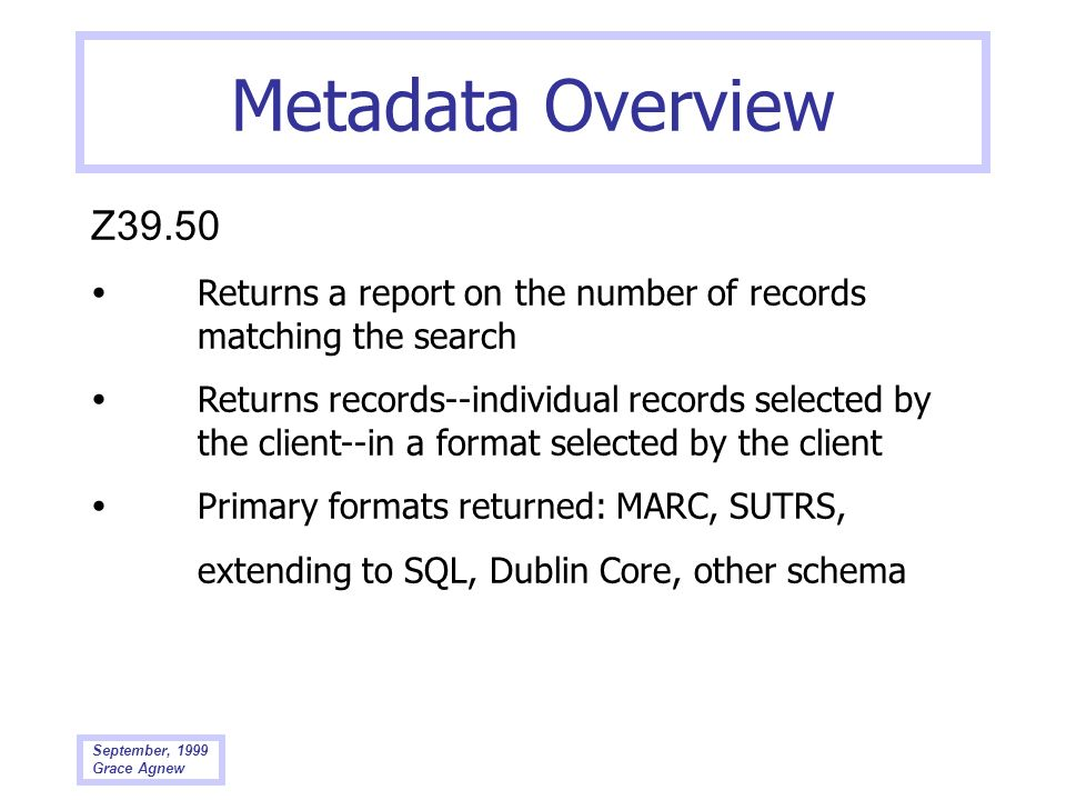Metadata Overview Z39.50.  Returns a report on the number of records matching the search.